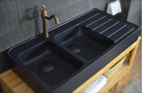 evier noir cuisine 120x60 évier granit noir de cuisine en 2 cuves