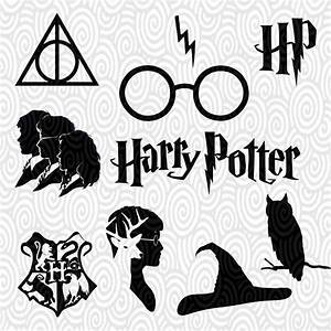 Cricut Template Harry Potter silhouette no fill PNG Files