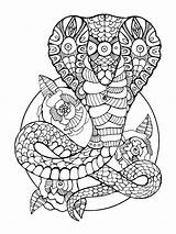 Coloring Cobra Pages Snake Adults Zentangle Adult Printable Vector Tattoo Stencil Illustration Drawing Mycoloring Immagini Curve Draw Colors Head sketch template