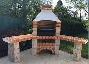 barbecue dangle en pierre et brique ff 53a au jardin d39eden With barbecue de jardin en brique
