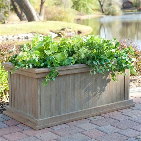 rustic garden large planter box driftwood finish modern indoor pots and planters by