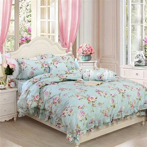 Duvet Covers Vintage Style by Fadfay Shabby Blue Floral Print Bedding Set Vintage