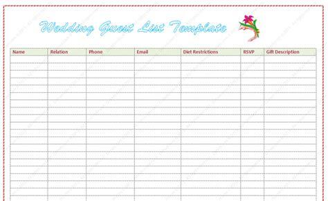 wedding guest list template word dotxes