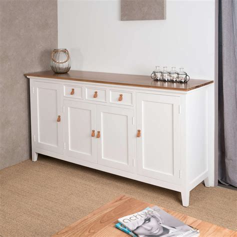 table de cuisine d appoint buffet salon bois acajou et pin massif chic rectangle blanc naturel l 185 cm