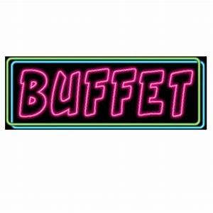 The Neon Buffet Sign cutout has a black background with