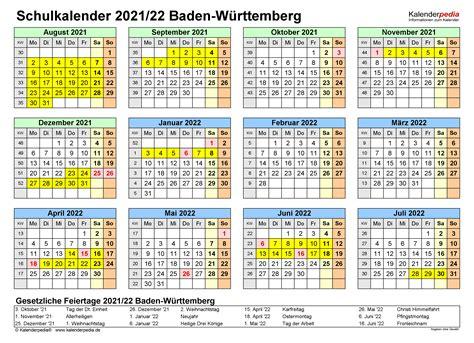 August bis juli) für jedes bundesland mit schulferien und allen regionalen gesetzlichen feiertagen Schulkalender 2021/2022 Baden-Württemberg für Excel