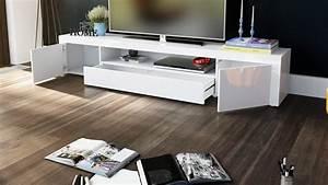 Meuble tv moderne laqué blanc 200 cm avec led pour Meubles tv desi