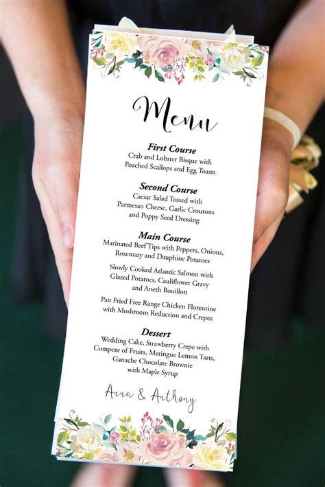 editable menu printable floral dinner menu watercolor