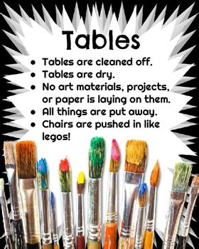 art room clean  posters art classroom management tpt