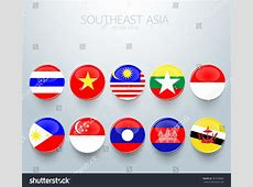 Southeast Asia Flag Icon Aec, Vector Illustration