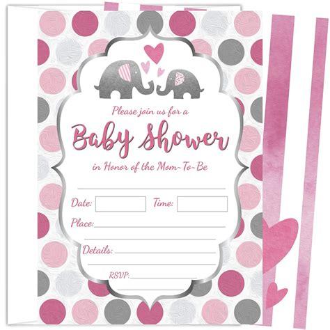 25 Invitaciones Para Baby Shower De Niña Elefante Rosa De