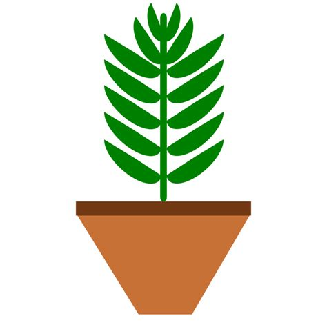 Plant Clip Clipart Potted Plant Leaves Only 3 Color With Space On Pot
