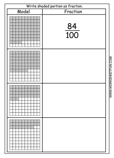 fraction model hundredths  worksheets
