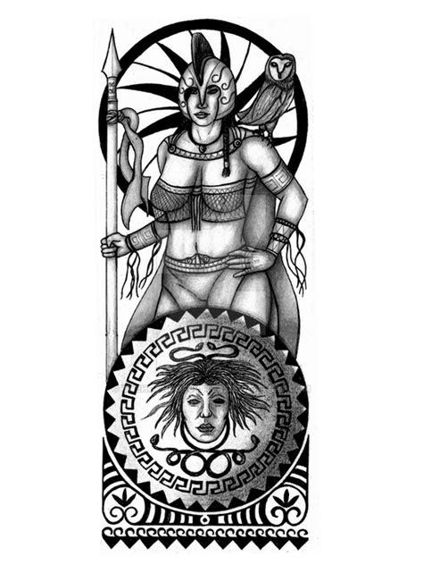 Athena, Greek warrior goddess, tattoo design Picture