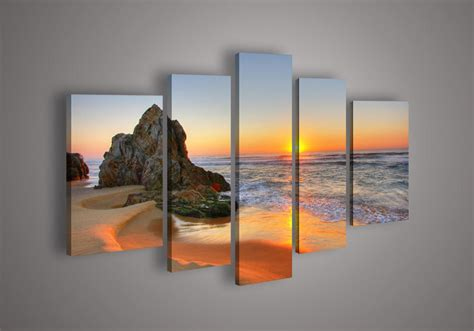 Wall Decor Canvas by 5 Panel Seascape Painting Modern Canvas Wall