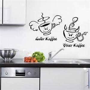 Wandtattoo Küche Bilder : kaffee engel teufel f r wohnzimmer k che wandtattoo sunnywall online shop ~ Markanthonyermac.com Haus und Dekorationen