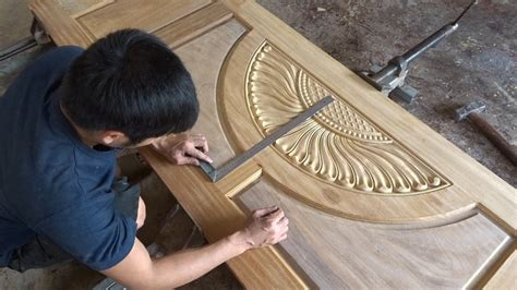 amazing woodworking skill making  front door beautiful