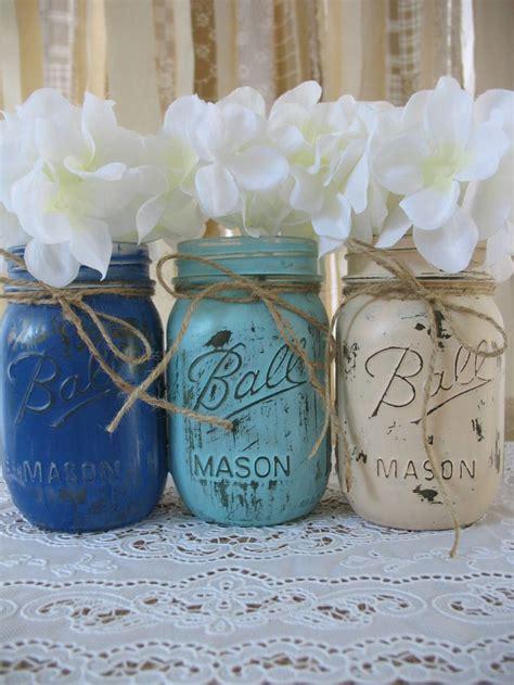 Mason Jar Baby Shower Decorations by 3 Pint Mason Jars Painted Mason Jars Rustic Wedding