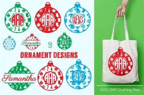 How to make christmas ornaments with a cricut? Christmas Ornament monogram frames svg, cricut ornaments ...
