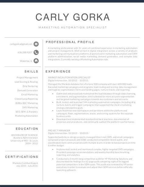 marketing automation specialist resume gorka
