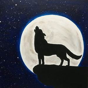 Wolf Howling At The Moon Painting Wolf Silhouette Moon ...