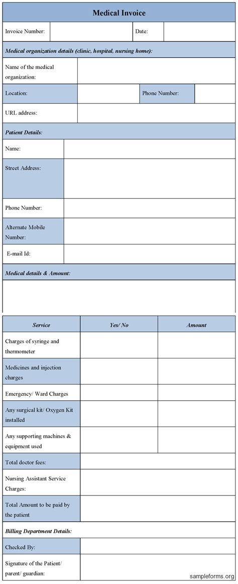 medical form exle medical invoice template word invoice sle template