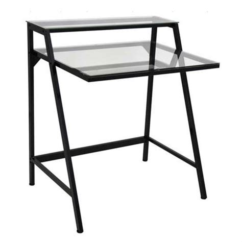 cl on desk shelf lumisource 2 tier clear glass computer desk black ofd tm