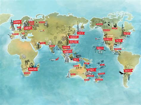 global map  qantas flight promotion   draw