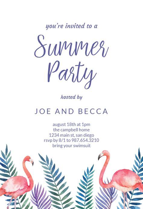 flamingo palms pool party invitation template