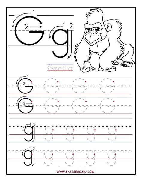 worksheets for preschoolers printable letter g tracing