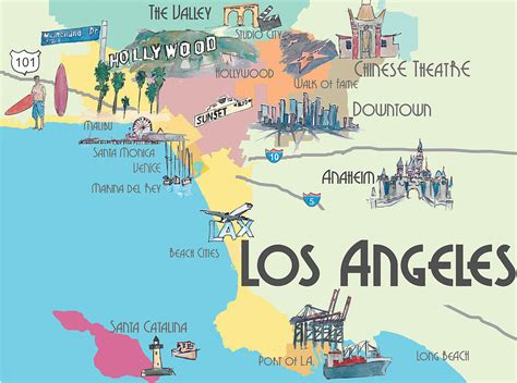los angeles california map  greater la