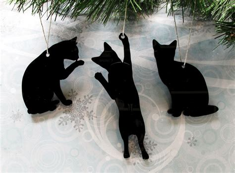 cat silhouette ornaments christmas tree decorations cat