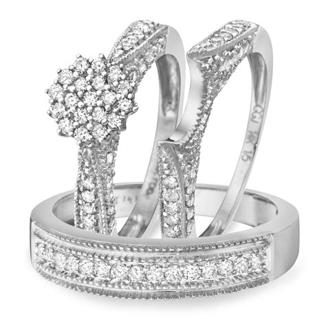 1 1 carat diamond trio wedding ring set 14k white gold