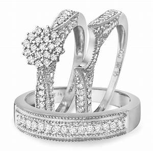 1 carat diamond trio wedding ring set 14k white gold my With 1 carat wedding ring set