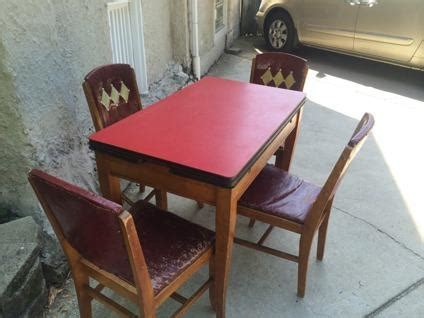 vintage   red formica top wooden kitchen table