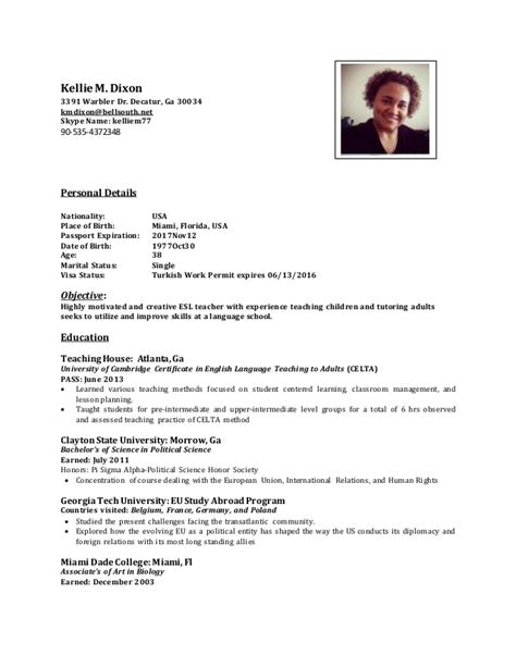 Does Teaching Abroad Look On Resume by Kellie S Celta Cv 2016