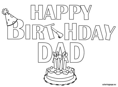 happy birthday dad coloring page kid crafts pinterest coloring dads  birthday cakes