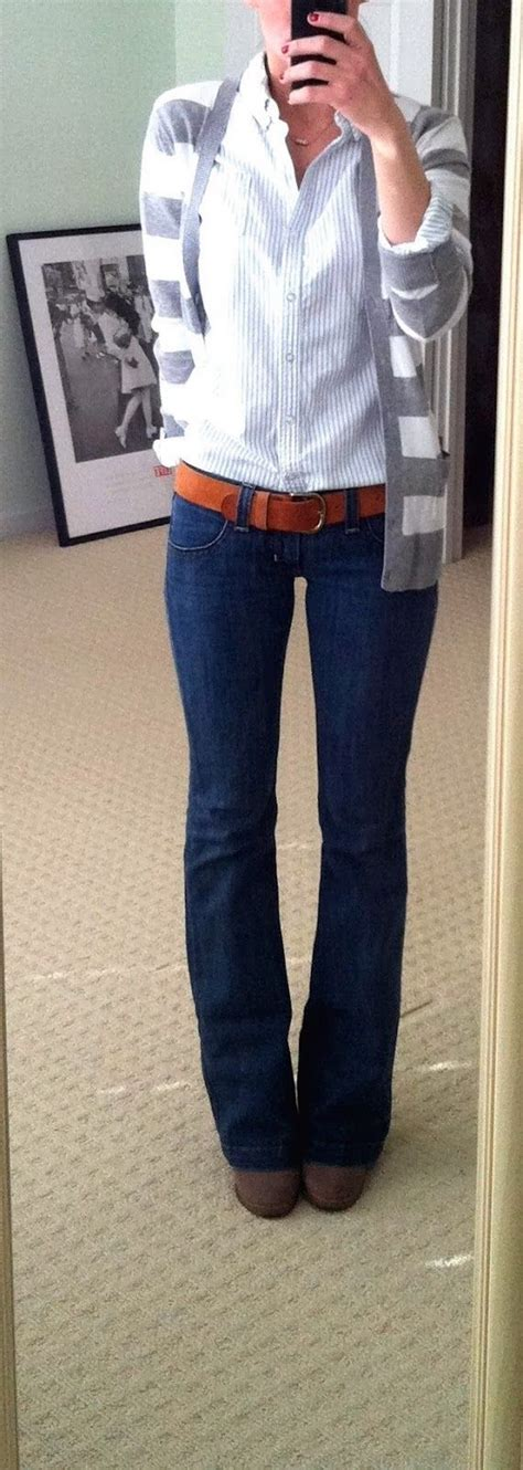 Perfect Simple Fall Ladies Work Outfit. Blue jeans white top striped gray and white sweater ...
