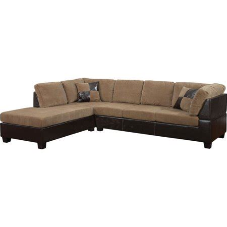 light brown leather sectional connell collection corduroy and faux leather sectional