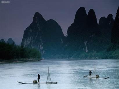 China River Li Guilin Fishermen Landscape Hills