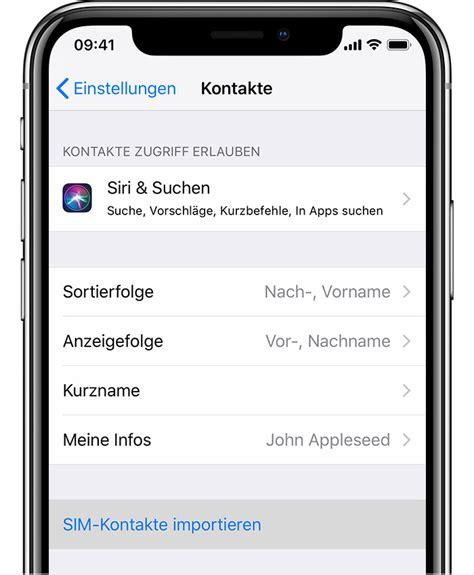 kontakte von der sim karte auf das iphone importieren