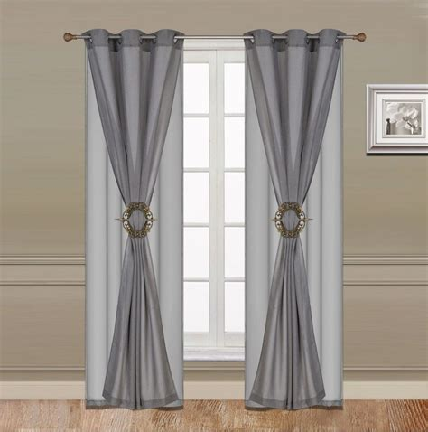 Cheap Curtains And Drapes by Curtain Set 6 Grey Grommet Faux Silk With Grommet