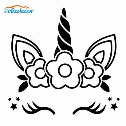 Unicorn Decal Face Flowers Cars Vinyl Cups