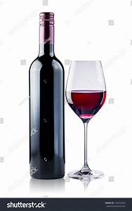 Red Wine Bottle Glass On White Stock Photo 129452030 ...