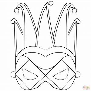 Harlequin Mask Coloring Page
