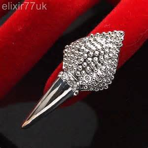 New silver gold diamante nail art finger tip ring claw