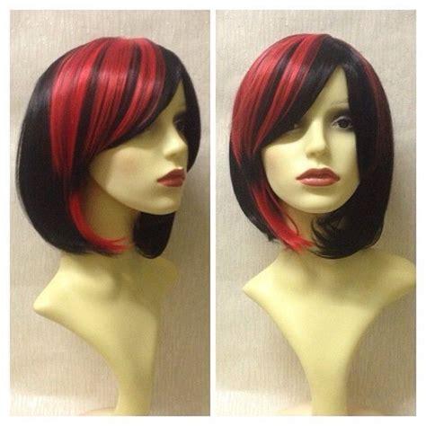 image  harlequin black red short bob natural gothic