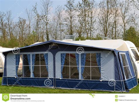 travel trailer  awning tent  stock image image