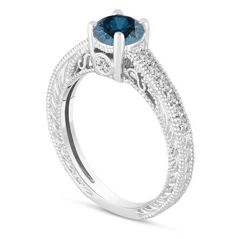 wedding ring connectors blue engagement ring 14k white gold vintage 9939