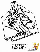 Coloring Ski Winter Sports Down Racer Hill Skier Sheet Yescoloring Olympic Freeze Olympics sketch template